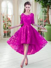 Fuchsia A-line Lace Prom Evening Gown Zipper Half Sleeves High Low