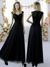 Gorgeous Floor Length Empire Cap Sleeves Black Wedding Party Dress Zipper