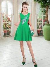 Perfect Mini Length Green Dress for Prom Satin Sleeveless Appliques