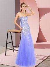 Tulle Sweetheart Sleeveless Zipper Beading Prom Dress in Lavender