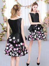 Scoop Sleeveless Zipper Dama Dress for Quinceanera Black Satin