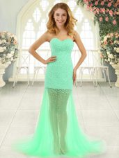 Apple Green Sweetheart Neckline Beading Dress for Prom Sleeveless Zipper