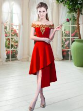 Red Homecoming Dress Prom and Party with Appliques Off The Shoulder Sleeveless Zipper
