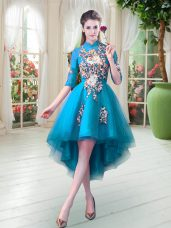 Half Sleeves Zipper High Low Appliques Prom Dresses