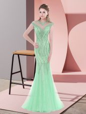 Fashion Beading Prom Gown Apple Green Zipper Cap Sleeves Sweep Train