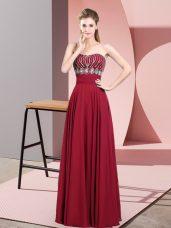 Cute Red Sleeveless Beading Floor Length Dress for Prom