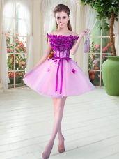 Superior Sleeveless Beading and Appliques Lace Up Prom Party Dress