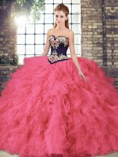 Floor Length Hot Pink Quinceanera Gowns Sweetheart Sleeveless Lace Up
