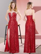 Red Column/Sheath Sweetheart Sleeveless Sequined Floor Length Lace Up Beading and Lace Evening Dress
