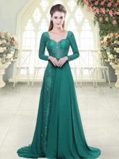 Green Long Sleeves Beading and Lace Backless Evening Dress