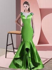 Fashion Green Sleeveless Sweep Train Beading and Lace and Appliques