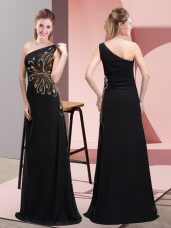 Popular One Shoulder Sleeveless Chiffon Evening Dress Beading Side Zipper