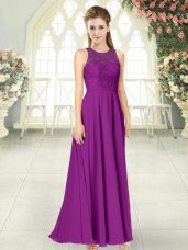 Custom Made Chiffon Sleeveless Floor Length Prom Dress and Lace