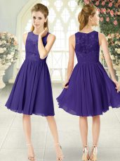 Purple Empire Chiffon Scoop Sleeveless Lace Knee Length Zipper Evening Dress