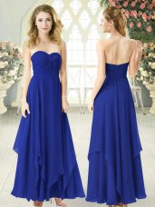 Ideal Chiffon Sweetheart Sleeveless Zipper Ruching Prom Dresses in Royal Blue