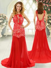 Great Sleeveless Chiffon Brush Train Backless Dress for Prom in Red with Lace