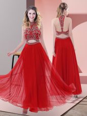 Cute Ankle Length Red Prom Party Dress Halter Top Sleeveless Backless