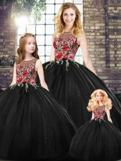 On Sale Black Sweet 16 Dress Military Ball and Sweet 16 and Quinceanera with Embroidery Scoop Sleeveless Zipper