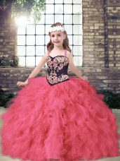 Straps Sleeveless Tulle Glitz Pageant Dress Embroidery and Ruffles Lace Up