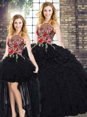 Colorful Black 15th Birthday Dress Military Ball and Sweet 16 and Quinceanera with Embroidery and Ruffles Scoop Sleeveless Zipper