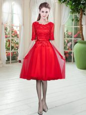 Red Half Sleeves Lace Knee Length Evening Dress