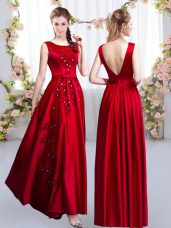 Attractive Sleeveless Floor Length Beading and Appliques Backless Bridesmaid Dresses with Red