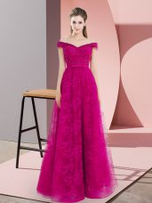 Stylish Fuchsia Evening Dress Prom and Party with Beading and Lace Off The Shoulder Sleeveless Lace Up