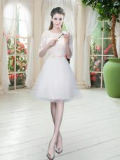 Flirting Knee Length White Prom Party Dress Tulle Half Sleeves Lace