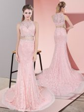 Pink Prom Dresses Lace Court Train Sleeveless Beading