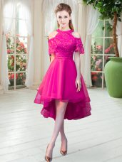 Cute Hot Pink Tulle Zipper High-neck Short Sleeves High Low Dress for Prom Lace