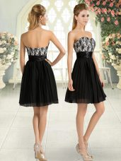 Attractive Black Sweetheart Zipper Lace Prom Evening Gown Sleeveless