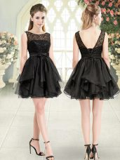 Sophisticated Black Organza Lace Up Scoop Sleeveless Mini Length Dress for Prom Beading and Lace