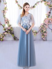 Stylish Blue Half Sleeves Floor Length Lace Lace Up Bridesmaids Dress