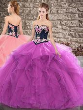 Fine Purple Sleeveless Floor Length Beading and Embroidery Lace Up 15th Birthday Dress