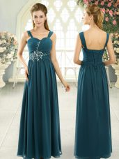 Fine Teal Chiffon Lace Up Homecoming Dress Sleeveless Floor Length Beading and Ruching