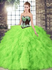 Ball Gowns Tulle Sweetheart Sleeveless Beading and Embroidery Floor Length Lace Up Sweet 16 Quinceanera Dress