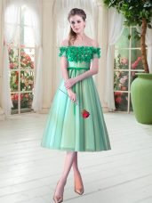 Turquoise A-line Off The Shoulder Sleeveless Tulle Tea Length Lace Up Appliques Prom Evening Gown