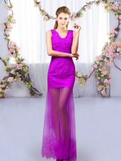 Tulle V-neck Sleeveless Lace Up Lace Quinceanera Court Dresses in Purple