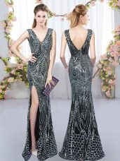 Traditional V-neck Sleeveless Wedding Party Dress Sequins Backless