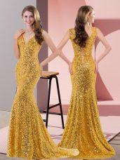 Fashion Gold V-neck Neckline Beading Prom Dress Sleeveless Lace Up