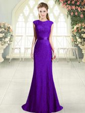 Modest Scoop Sleeveless Prom Party Dress Sweep Train Beading Dark Purple Lace