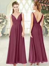 Empire Dress for Prom Burgundy Off The Shoulder Chiffon Sleeveless Ankle Length Side Zipper