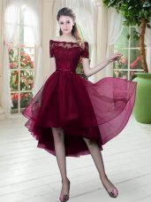 High Low A-line Short Sleeves Burgundy Prom Evening Gown Lace Up