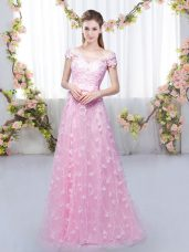 Rose Pink Empire Off The Shoulder Cap Sleeves Tulle Floor Length Lace Up Appliques Bridesmaid Gown