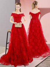 Lovely Red Off The Shoulder Lace Up Beading and Lace Formal Dresses Sweep Train Sleeveless