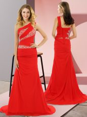 High Quality Red Prom Gown Chiffon Sweep Train Sleeveless Beading