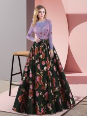 Stylish Multi-color A-line Printed Scoop Long Sleeves Appliques Lace Up Prom Dresses Sweep Train