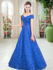 Enchanting Blue Lace Up Off The Shoulder Beading Evening Dress Lace Sleeveless