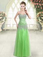 Dynamic Floor Length Evening Dress Tulle Sleeveless Beading