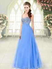 Popular A-line Evening Dress Blue Sweetheart Tulle Sleeveless Floor Length Lace Up